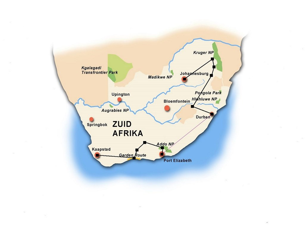 Routebeschrijving Individuele Rondreis Zuid Afrika Sable Tours
